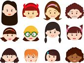 A Theme of cute vector Icons : Heads of Girls, Women, Kids (Female Set) Different ethnics, isolated