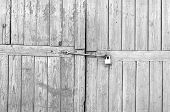 Old Wooden Gates With Padlock