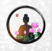 Silhouette Of Meditating Buddha And Pink Lotus Flowers In Black Enso Zen Circle On White Glowing Bac poster