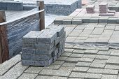 Granite Stones Are Sold In Construction Shop. Building Materials For Decoration And Construction. Co poster