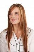 image of auburn  - Beautiful young caucasian adult woman with long auburn red hair on a plain background wearing a white button shirt - JPG