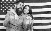 Thumbs Ups For Independence. Father And Little Child Gesturing On Independence Day On American Flag  poster