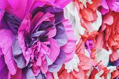 Large Giant Bendable Paper Flowers. Big Pink Roses Made From Paper. Diy Big Paper Flower Made From C poster