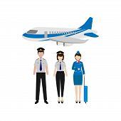 The Flat Design Of The Pilot And Flight Attendant Characters Worked On The Plane As A Team Isolated  poster