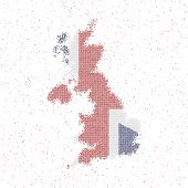 Map Of United Kingdom. Mosaic Style Map With Flag Of United Kingdom. Vector Illustration. poster