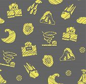 Weather, Natural Disasters, Seamless Pattern, Gray-yellow, Hatching, Vector. Images Of Various Natur poster