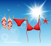Hanging swimsuit and flip flops on blue sky background. Vector illustration.
