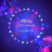 Merry Christmas And Happy New Year Holiday Greeting Card. Colourful Christmas Lights. Wreath Of Glow poster