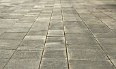 picture of stone floor  - big stones floor promenade perspective on horizontal view  - JPG