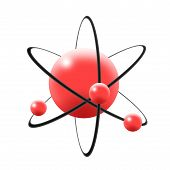 foto of neutron  - Illustration of atom in 3d with central nuclues in red color containing proton and neutron and revolving electrons in elliptical orbits - JPG