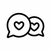 Love Correspondence Icon Vector. A Thin Line Sign. Isolated Contour Symbol Illustration poster
