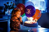 Adorable Little Toddler Girl Celebrating Third Birthday. Baby Toddler Child With Homemade Unicorn Ca poster