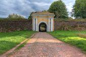 Fredrikshamn Gate Between Two Stone Walls In Overcast Day In Hdr Processing, Annenkrone, Vyborg, Len poster