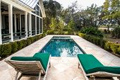 Beautiful back yard pool behind luxury home with garden. poster