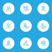 Occupation Icons Line Style Set With Cashier, Captain, Priest Woman And Other Sports Woman Elements. poster
