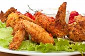 picture of fried chicken  - Spicy Buffalo Chicken Wings - JPG