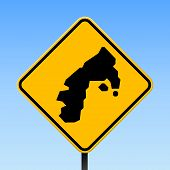 Water Island Map Road Sign. Square Poster With Island Outline On Yellow Rhomb Signboard. Vector Illu poster