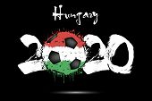 Abstract Numbers 2020 And Soccer Ball Painted In The Colors Of The Hungary Flag In Grunge Style. Fig poster