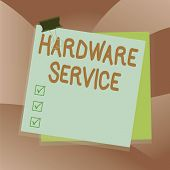 Handwriting Text Writing Hardware Service. Concept Meaning Act Of Supporting And Maintaining Compute poster