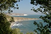 Peveril Point At Swanage Seen Through Trees From Durlston In Dorset poster