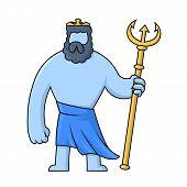 Poseidon, Ancient Greek God Of The Sea With Trident. Mythology. Flat Vector Illustration. Isolated O poster