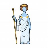 Hera, Ancient Greek Goddess Of Marriage, Mothers And Families. Mythology. Flat Vector Illustration.  poster