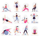 Woman Sport Activities. Beautiful Young Woman Do Fitness Activities, Female Character Run And Yoga E poster