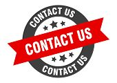 Contact Us Sign. Contact Us Black-red Round Ribbon Sticker poster
