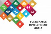 Icons Set Global Business, Economics And Marketing. Flat Style Icons. Sustainable Development Goals. poster