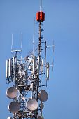 Telecommunication Network Repeaters, Base Transceiver Station. Tower Wireless Communication Antenna  poster