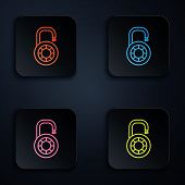 Color Neon Line Safe Combination Lock Wheel Icon On Black Background. Combination Padlock. Security, poster