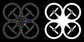 Flare Mesh Quadcopter Icon With Glitter Effect. Abstract Illuminated Model Of Quadcopter. Shiny Wire poster