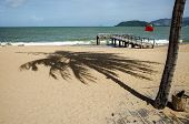 A Shadow From A Coconut Tree Falls On The Sand. There Is A Pier For Small Boats On The Beach. A Red  poster