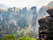 View Of The Imposing Wehlnadel And The Bastei Bridge From The Opposite Side, Saxon Switzerland Natio poster