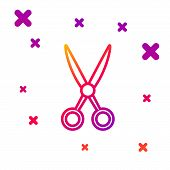 Color Line Scissors Hairdresser Icon Isolated On White Background. Hairdresser, Fashion Salon And Ba poster