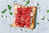 Toast With Fruit Raspberry , Mint And Cottage Cheese For Breakfast. Healthy Breakfast, Ruddy Bread T poster