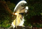 Big Ferris Wheel (budapest Eye) At City Park. Budapest Eye At Night. Tree Leaves Border. Natural Fra poster