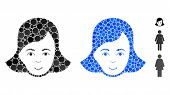 Lady Face Mosaic Of Filled Circles In Various Sizes And Shades, Based On Lady Face Icon. Vector Fill poster