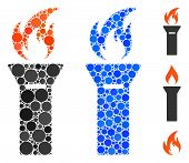 Torch Flame Mosaic Of Round Dots In Different Sizes And Color Hues, Based On Torch Flame Icon. Vecto poster