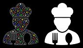 Flare Mesh Cook Profession Icon With Sparkle Effect. Abstract Illuminated Model Of Cook Profession.  poster