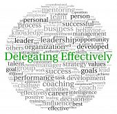 Delegating effectively concept in word tag cloud on white background