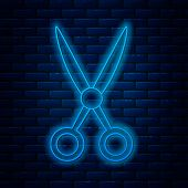 Glowing Neon Line Scissors Hairdresser Icon Isolated On Brick Wall Background. Hairdresser, Fashion  poster
