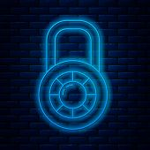 Glowing Neon Line Safe Combination Lock Wheel Icon Isolated On Brick Wall Background. Combination Pa poster