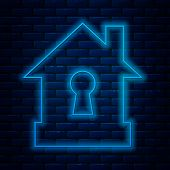 Glowing Neon Line House Under Protection Icon Isolated On Brick Wall Background. Protection, Safety, poster