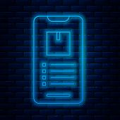 Glowing Neon Line Mobile Smart Phone With App Delivery Tracking Icon Isolated On Brick Wall Backgrou poster