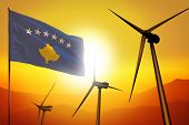 Kosovo Wind Energy, Alternative Energy Environment Concept With Turbines And Flag On Sunset - Altern poster