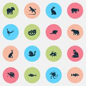Fauna Icons Set With Hogfish, Hare, Beaver And Other Hippopotamus Elements. Isolated Vector Illustra poster