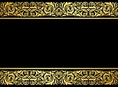 image of embellish  - Floral border with gilded elements in retro style for embellishment design - JPG