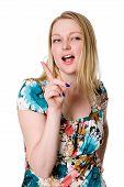 Постер, плакат: Молодая соблазнительная жена делает угрожающие жест