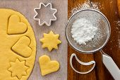 Making sugar cookies with cookie cutters